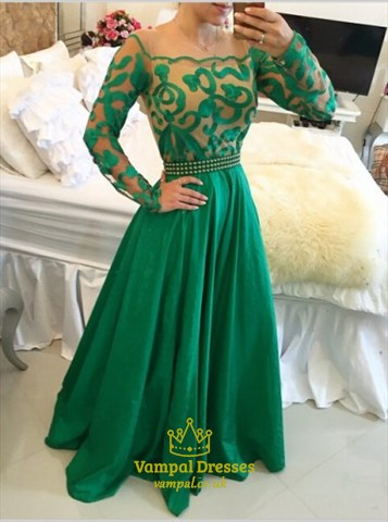 Emerald Green Long Sleeve A Line Long Prom Dress With