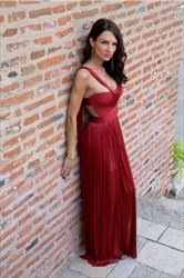 Burgundy A-Line Sweetheart Cut Out Waist Chiffon Prom Dress With Strap