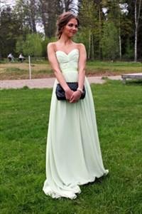 Light Green A-Line Strapless Sweetheart Criss-Cross Front Maxi Dress