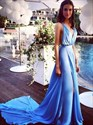 V-Neck A-Line Aqua Blue Sleeveless Slit Chiffon Prom Dress With Train