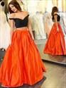 Elegant Orange And Black Two Piece Off The Shoulder A-Line Ball Gown