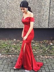 Burgundy Mermaid Off The Shoulder V-Neck Prom Dress With Side Split