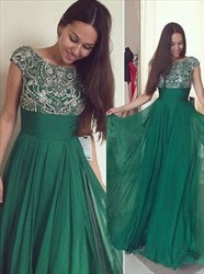 Emerald Green Cap Sleeve Empire Waist A-Line Prom Gown With Beaded Top