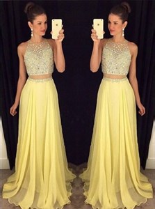 Yellow Two-Piece Sleeveless Prom Dress With Illusion Beaded Bodice