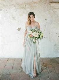 Off The Shoulder Sweetheart Neckline A-Line Evening Dress With Split