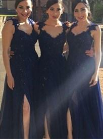 Navy Blue Cap Sleeve Beaded Lace Chiffon Bridesmaid Dress With Split