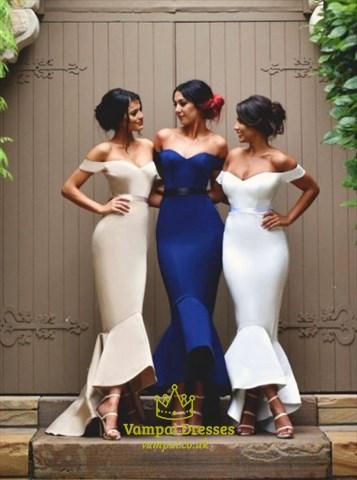 Simple Royal Blue Off Shoulder Drop Waist Mermaid Prom Dress With Belt