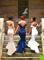 Simple Royal Blue Off Shoulder Drop Waist Mermaid Prom Dress With Belt