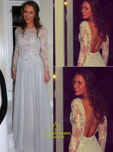 Illusion Long Sleeve Open Back A-Line Long Prom Dress With Appliques