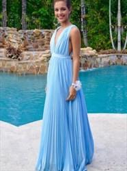 Light Blue Deep V-Neck Sleeveless Ruched Chiffon A-Line Evening Dress