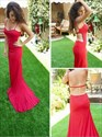 Red Mermaid Spaghetti Strap Side Cut Out Evening Dress With Open Back