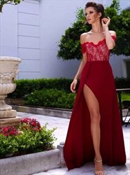 Burgundy Off The Shoulder Lace Chiffon Evening Dress With Side Split