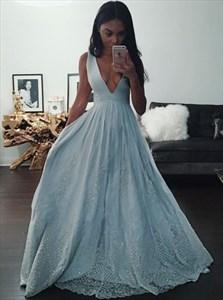 Light Blue Deep V-Neck Sleeveless A-Line Lace Embellished Prom Dress