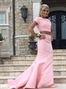 Pink Two-Piece Mermaid Cap Sleeve Beaded Bodice Prom Dress With Train