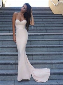 Simple Strapless Sweetheart Long Mermaid Evening Dress With Train
