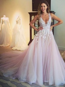 Light Pink Sleeveless Deep V Neck Lace Applique Ball Gown With Train