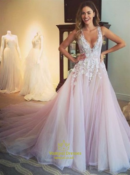 6663b067e32 Light Pink Sleeveless Deep V Neck Lace Applique Ball Gown With Train ...