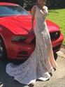 Elegant Deep V-Neck Lace Mermaid Sleeveless Floor Length Prom Dress