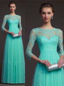 Turquoise 3/4 Sleeve Lace Top Empire Waist A-Line Long Evening Dress