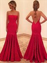Red Strapless Drop Waist Mermaid Lace Long Prom Dress With Open Back