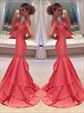 Coral Off The Shoulder Sweetheart Neck Mermaid Floor Length Prom Dress