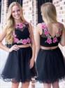 Sleeveless Embroidery Two Piece Knee Length A-Line Homecoming Dress