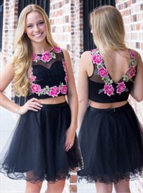Sleeveless Embroidery Two Piece Knee Length A-Line Homecoming Dress