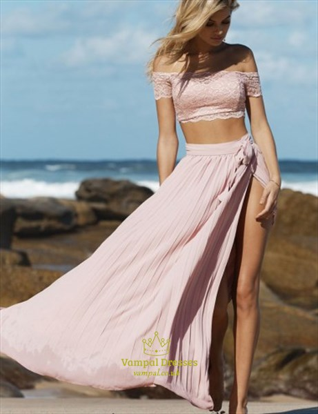 Two-Piece Off The Shoulder Lace Top Chiffon Evening Dress With Split
