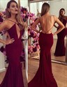 Open Back Burgundy Spaghetti Strap Mermaid Floor Length Prom Dress