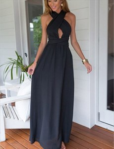 Navy Blue Sleeveless Open Back Cross Back A-Line Prom Dress With Belt