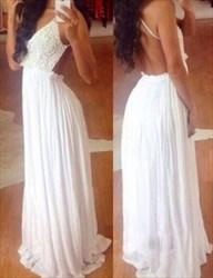 White Spaghetti Strap Lace Top Chiffon Bottom Prom Gown With Open Back
