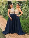 Elegant Sleeveless Lace Bodice Floor Length A-Line Bridesmaid Dress
