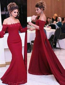Burgundy Off The Shoulder Long Sleeve Mermaid Prom Gown With Lace Edge