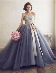 Gorgeous Strapless Lace Bodice A-Line Ball Gown Prom Dress With Belt
