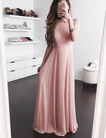Elegant Pink Sleeveless Floor Length A-Line Chiffon Evening Dress