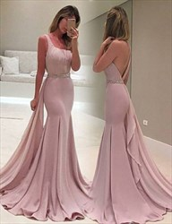 Elegant One Shoulder Mermaid Chiffon Evening Dress With Beaded Waist