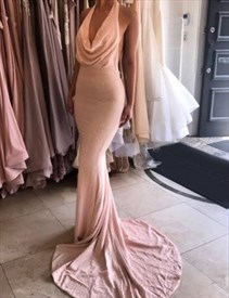 Elegant Cowl Neck Halter Floor Length Mermaid Prom Gown With Open Back