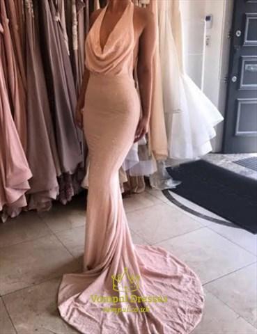 Elegant Cowl Neck Halter Floor Length Mermaid Prom Gown With Open Back