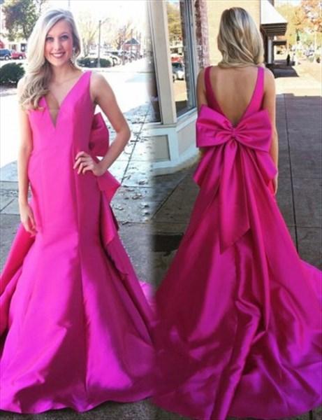 7589dc3ec8df Fuchsia Sleeveless Backless Mermaid Prom Dress With Big Bows On Back ...