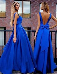 Royal Blue Sleeveless Open Back A-Line Long Prom Gown With Bow On Back