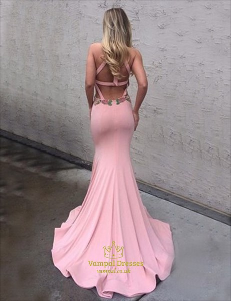 Pink Sleeveless Mermaid Embroidered Evening Dress With Keyhole Front