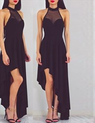 Sheer Black Sleeveless A-Line High-Low Evening Dress With Open Back