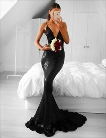 Black Sequin Deep V-Neck Spaghetti Strap Sheath Mermaid Long Prom Gown