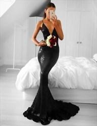 Black Sequin Deep V-Neck Spaghetti Strap Sheath Mermaid Long Prom Gown