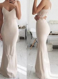 Spaghetti Strap Mermaid Floor Length Prom Gown With Illusion Lace Back
