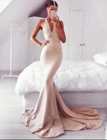 Elegant Halter Cross Back Mermaid Sweep Train Prom Dress With Belt