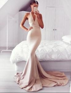 Elegant Halter Cross Back Mermaid Sweep Train Prom Dress With Belt