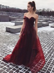 Burgundy Strapless A-Line Long Prom Dress With Embellished Neckline