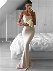 Elegant Strapless Sheath Mermaid Long Evening Dress With Ruched Top