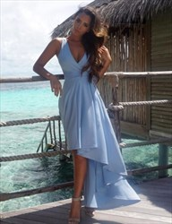 Sky Blue Sleeveless Deep V-Neck Short High-Low Prom Dress With Belt